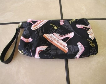 Black and Pink Wristlet
