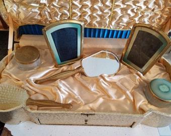 Vintage Victorian Vanity Set W/Case