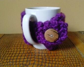 Deep Purple Coffee Mug Cozy- Purple Coffee Cup Cozy- Knitted Coffee Cup Cozy