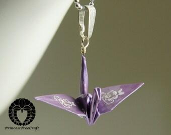 Sale! Origami crane pendant with chain - Lavender crane