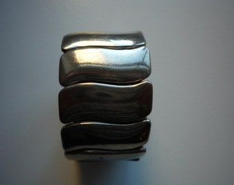 Vintage Wide Silver Chrome Chunky Accordion Stretch Bracelet