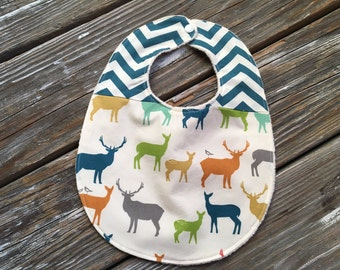ORGANIC Bib ~ Two Toned/Quilted ~ Woodland//Elk//Tribal//Teal//Buck//Forest//Chevron