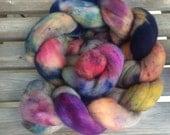 Hand dyed merino combed top, merino spinning fiber, merino felting fiber