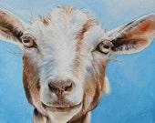 GOAT ART PRINT, fine art print, farm animal print, goat close up, goat, wall decor,kitchen decor nursery decor,blue background, square print