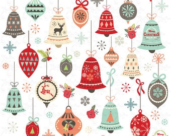 "Christmas clip art ""CHRISTMAS ORNAMENT"" Clipart pack, Christmas,Vintage Christmas, Christmas Ornament, Christmas Bell, Retro Christmas,CM044"