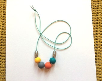 Colour block polymer clay necklace