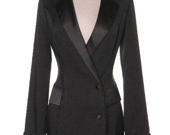 Sexy Tuxedo Mini, Black Tuxedo Dress, Trench Coat Dress, Satin Black Dress, Satin Mini Dress, Trench Dress, Gift for Her, Valentines Gift
