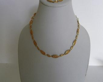 Vintage Movitex filigree  necklace and bracelet set