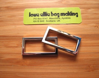 1.25 (32mm) One & quarter inch Flat Rectangle Rings in Silver Nickel/Antique Brass Bag and Strap Hardware