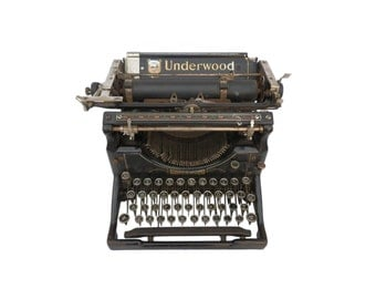 An antique Underwood typewriter with glass keys, early 20th century