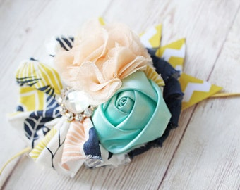 Floral Oasis mustard, peach, navy and mint headband
