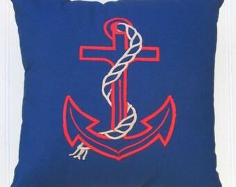 Anchor Pillow, Nautical Anchor Pillow, Boat Pillow, Red and Blue Pillow, Nautical Pillow, Coastal Pillow
