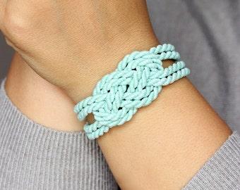 Mint Green Bracelet Sailor Knot Bracelet Knot Bracelet Rope Knote Bracelet Mint Bracelet Knotted Bracelet Sailors Knot Nautical Bracelet