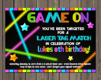 Laser Tag Invitation, Laser Tag Birthday Invitation, Neon Party Invite, Glow in the Dark Party Printable