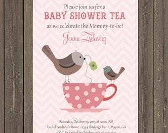 Baby Shower Tea Party Invitation, Bird Baby Shower Invite, Baby Shower Brunch, Teacup shower invitation, chevron baby shower, printable