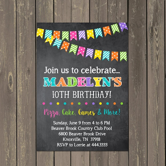 Chalkboard Birthday Invitation, Bright Chalkboard Party Invite, Bunting Birthday Invitation, Printable
