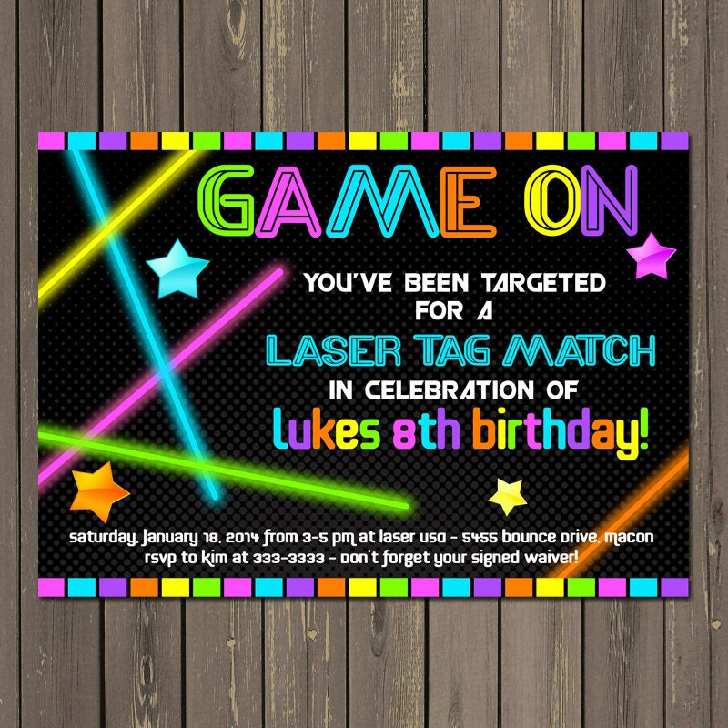 Laser Tag Birthday Invitations sweetkingdomco