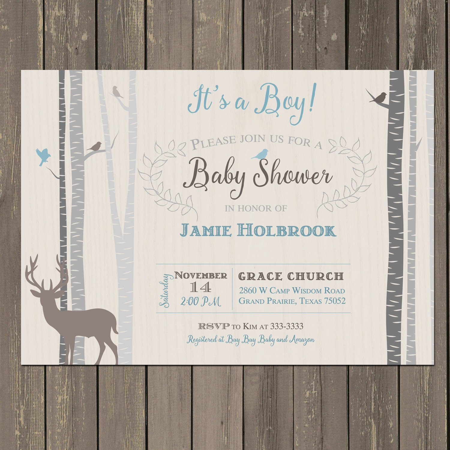 deer and birch baby shower invitation in tan grey and blue
