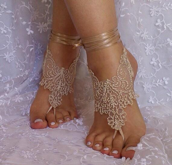 Beige burlap a little bit gold lace barefoot sandal free ship rustic wedding, tan nude beach barefoot sandals