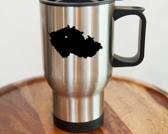 Czech Republic Stainless Steel Travel Mug.  Adoption, Travel, Mission, Custom