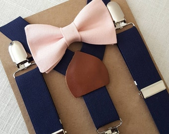PRE-ORDER (2 WEEKS) Newborn BowTie  Suspenders, Toddler BowTie Suspenders, Mens BowTie Suspenders, Pink Boys Bow Tie, Navy Boys Suspenders