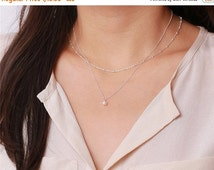 ON SALE Ivory mother of pearl drop - sterling silver necklace - every simple jewelry