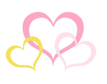 SVG Three Hearts Cuttable File - INSTANT DOWNLOAD - for use with silhouette cameo, cricut, Sizzix, other machines