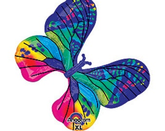 """31"""" Blue Butterfly XtraLife foil balloon garden party decoration"""