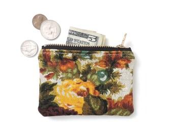 Linen Coin Purse Wallet Zipper Pouch Floral SALE