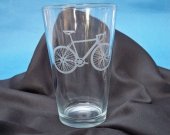 One Bicycle Pint Glass, 16 oz., Bicycle Lover, Bike, Glass, Engraved Gift, Gifts for Him, Gifts for Her, Gifts under 25
