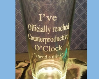 Etched Pint Glass, Beer Glass with Saying – Officially, Beer Message on Glass, Quote, Engraved  Pint – 16 oz.