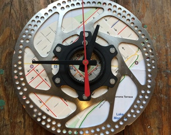 Recycled Bicycle Disc Brake Wall Clock Made with Madison Bike Map
