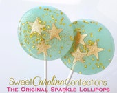 Blue and Gold Star Lollipops, Star Party, Gold Stars, Twinkle Twinkle, Candy Lollipops, Candy, Sparkle Lollipops, -Set of Six