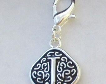 Vintage  Letter J  Dangle  Lobster Claw for Necklace - Bracelets - Key Chains