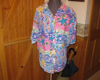 Vtg 70s Neon Pink Blue Rayon Hawaiian blouse starfish swimmers has it all free ship sz 10