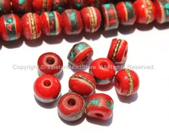 10 beads - Red Bone Inlaid Tibetan Beads with Turquoise & Coral Inlays - LPB13S-10