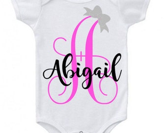 Monogram with bow and name baby onesie...creeper...bodysuit