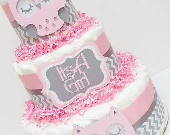 Chevron Pink And Gray Owl Diaper Cake Baby Shower Centerpiece