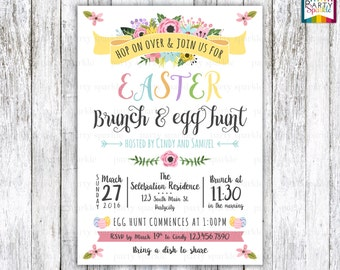 Easter Brunch and Egg Hunt Invitation Spring Floral Watercolor Flowers Personalized Digital Custom Party Invitation 4x6 or 5x7 jpg or pdf
