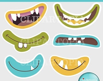 50% OFF SALE Cute Monster Mouths Digital Clipart Printable / INSTANT Download