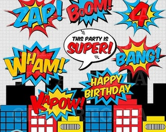 50% OFF SALE Superheroes Pop Art Text and Bubbles Clipart / Super hero Text and bubbles digital clip art / Superhero photobooth props