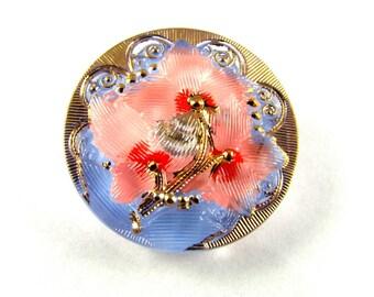 1 pc Hand Made Art Czech Glass Button, Size12,  27mm, Pink-Blue (BUT237/12)
