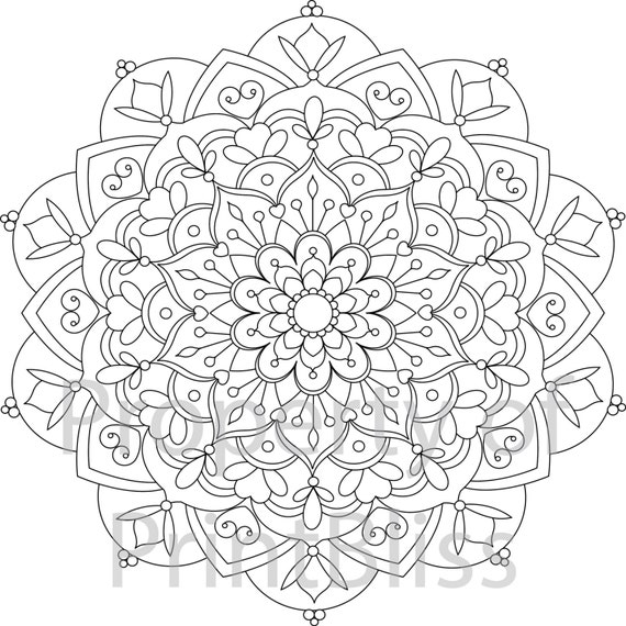 27 flower mandala printable coloring page. Black Bedroom Furniture Sets. Home Design Ideas