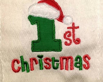 Baby's First Christmas bib, burp cloth or body suit.