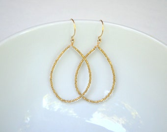 Bronze Czech Glass Beaded Teardrop Earrings