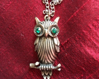 1970's horned owl necklace with green rhinestone eyes