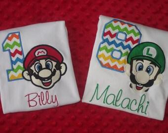 Super Mario or Luigi Appliquéd Birthday Shirt