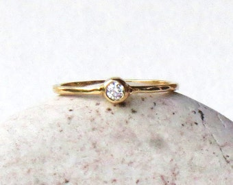 3mm diamond ring, .10ct diamond, diamond ring, Canadian diamond, diamond gold ring, rose gold, 14k gold ring