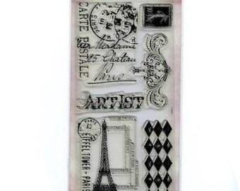 Tim Holtz FRENCH MARKET Artist Postmark eiffel Tower Paris Clear Stamp Set 1.cc02