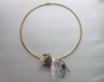 Handmade little miss kitty choker/necklace with diamanté and light pink chiffon scarf